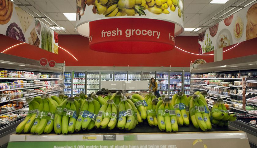 Bananas are displayed for sale as a customer shops at a Target Corp. store in Seattle, Washington, U.S., on Thursday, May 14, 2015. Target Corp. is scheduled to release earnings figures on May 20. Photographer: David Ryder/Bloomberg via Getty Images